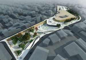 Modelo de la Plaza de la Libertad en Nicosia propuesto por Zaha Hadid.