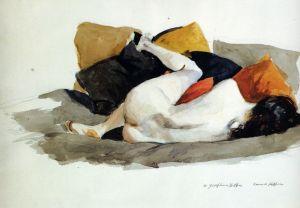 Desnudo tumbado, aprox. 1924-1927. Acuarela sobre papel, Edward Hopper.