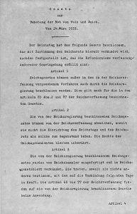 Primera página de Ley Habilitante alemana de 1933.