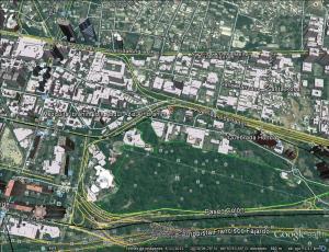 Plano de google earth con la ubicación de la mezquita de Caracas (al este), la Torre de David (arriba a la izquierda) y el antiguo Hilton (abajo a la izquierda).