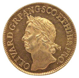 Moneda con la esfinge de Oliver Cromwell.