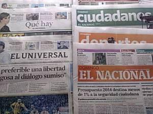 Una muestra de la prensa de hoy en Venezuela.