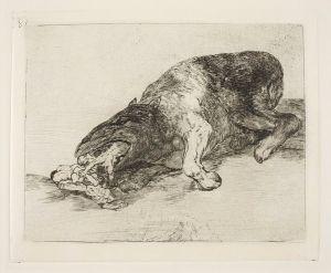 Goya. Grabado de la serie Los Desastres de la Guerra - No. 81 - Fiero monstruo. Imagen Wikipedia.