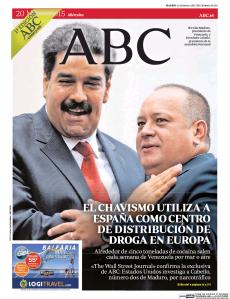 Primera página de ayer del diario ABC de España.